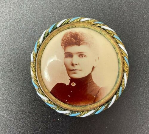 Antique Photo Mourning Brooch Woman Victorian Pin