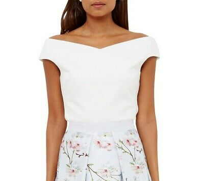 Ted Baker Teimah Bardot Top White Size 3 (UK 12)