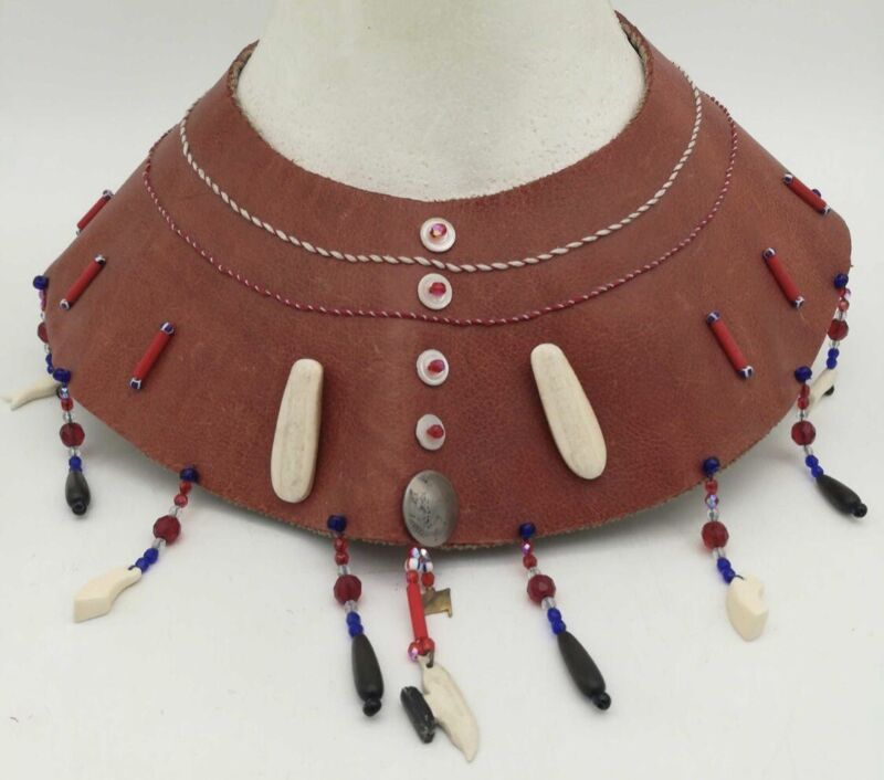 Vintage Eskimo Ceremonial Neck Piece By Inupiaq Sharon Dugan from Barrow Alaska