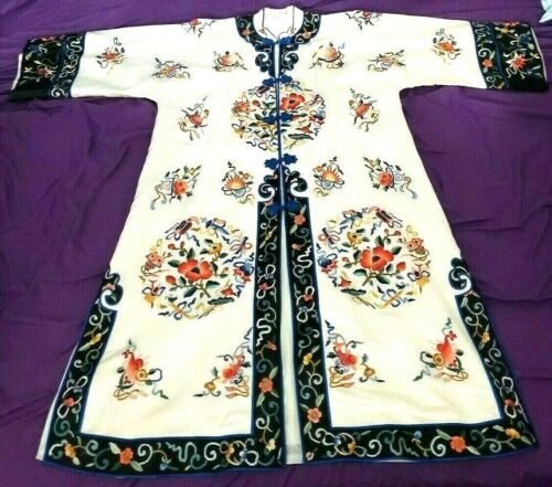 Bai Hua Womens Vintage Chinese Silk Robe Hand Embroidered Asian Dress 1960s VTG
