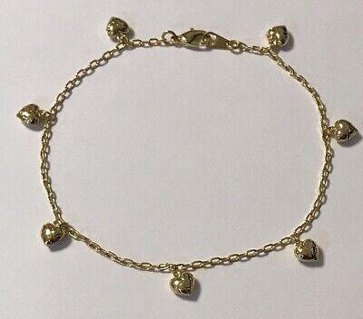 Gold Heart Ankle Bracelet - 18K Gold Plated Heart Chain Anklet / Ankle Bracelet - LIFETIME WARRANTY