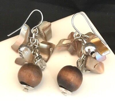 Designer Wood Earrings - Designer STATEMENT Earrings Earth Toned Shell Wood Glass Premier Urban Chic 10O