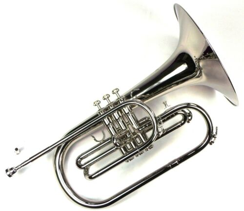 Advanced Monel Pistons Marching Mellophone Key of F w/ Case Nickel Plated