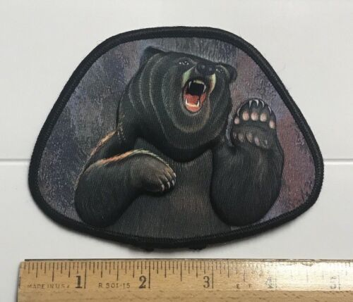 Brown Grizzly Bear Cap-Man 3-D Puffy Soft Patch Badge USA Made