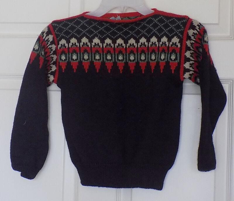 Vintage Black Wool Sweater Lulle Otterstad Oslo Handmade in Norway C30
