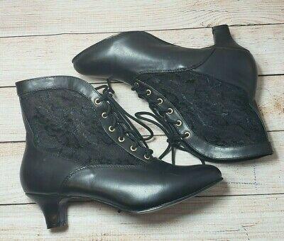 Steampunk Lace Boots Size 7.5 Victorian Costume Granny Black Ankle Shoes Dame