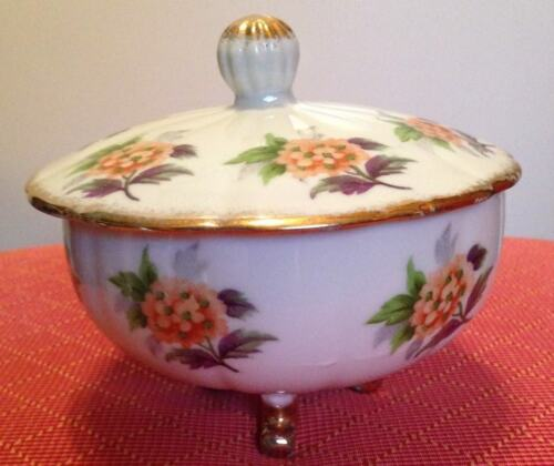 Japan- Porcelain Sugar Bowl with Gold Feet and Flowers