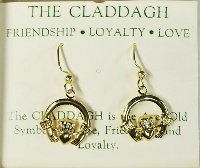 Claddagh Dangle Earrings -18kt Gold Plated - St Patrick