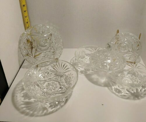 """VTG 5"""" or 7"""" Candy Dish w/Lid Star of David Dishes Anchor Hocking Clear Glass"""