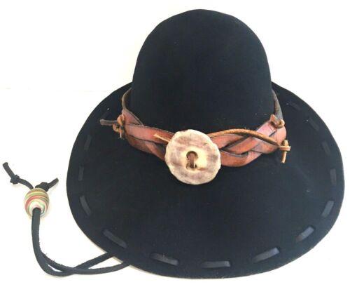 Mountain Man Foofaraw Hat, Wool, Latigo Leather Hat Band, Moose Antler Button