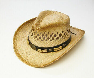 Children  Kid Boys Girls Western Cowboy Straw Hat Wide Brim with Beaded String ](Boys Cowboy Hat)