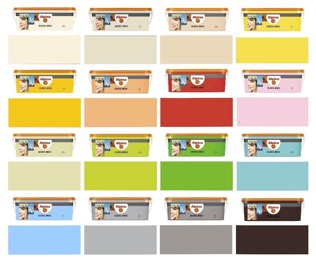Alpina Wandfarbe 2,5 L. Colorful World, hohe Deckkraft, Farbwahl Matt, NEU
