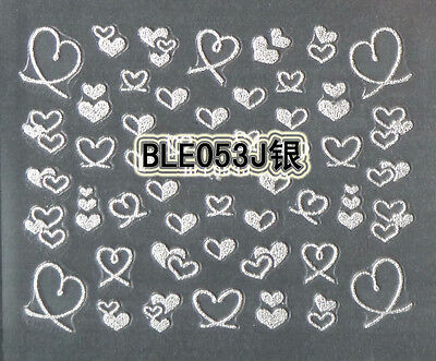 Silver  Hearts Loves 3D Nail Art Stickers Decals UV Acrylic Decoration