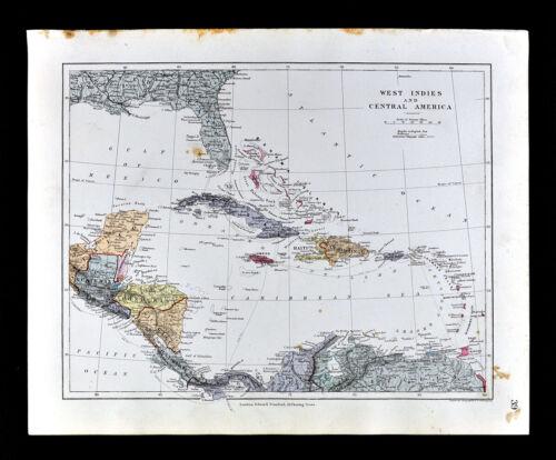 1885 Stanford Map West Indies Cuba Florida Bahamas Jamaica Caribbean Sea Antique