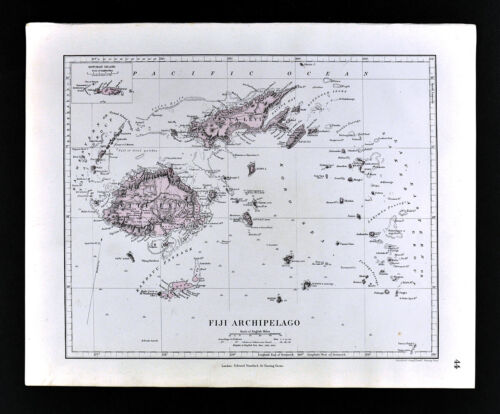 1885 Stanford Atlas Map Fiji Archipelago Viti Levu Oceania South Pacific Antique