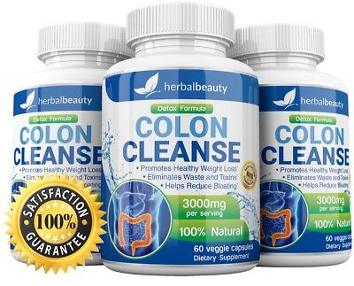 3X Herbal Beauty COLON CLEANSE DETOX Max 3000mg Diet Pills Weight Loss Fat Burn