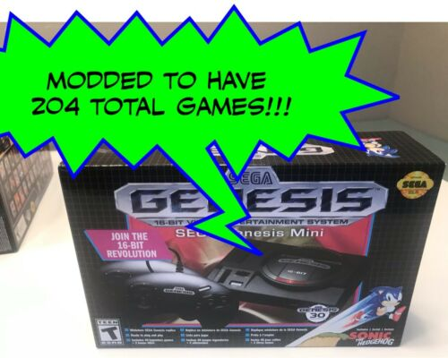 SEGA Genesis Mini Console - Modded w/ 204 Total Games - BRAND NEW & Authentic