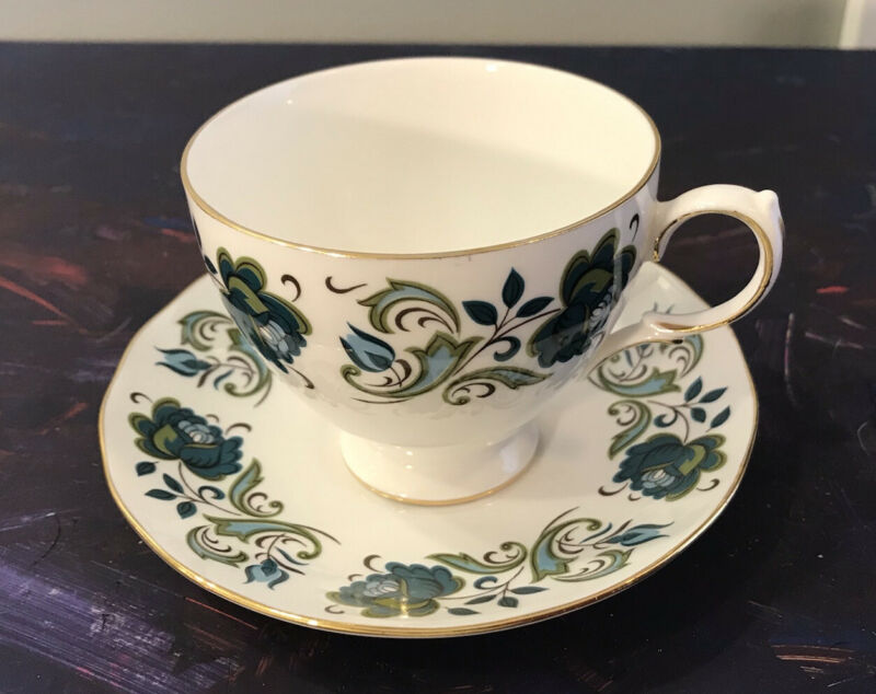 Vintage tea cup and saucer collectible Queen Anne fine bone china England blue