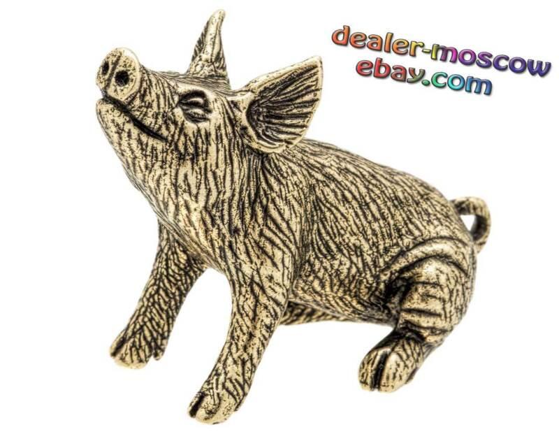Bronze Solid Brass Figurine Little Pig IronWork Statuette