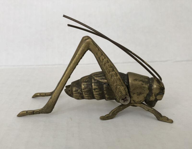 Brass Grasshopper Cricket Figurine Paperweight Vintage
