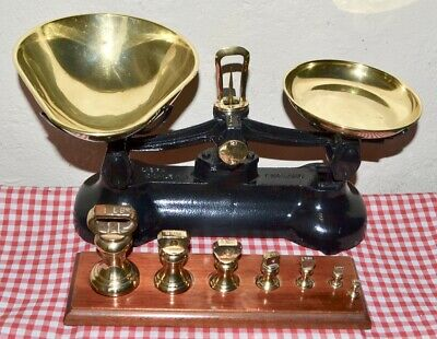 """VINTAGE ENGLISH """"LIBRA"""" KITCHEN SCALES 7 LIBRASCO BELL WEIGHTS ON WOODEN STAND"""