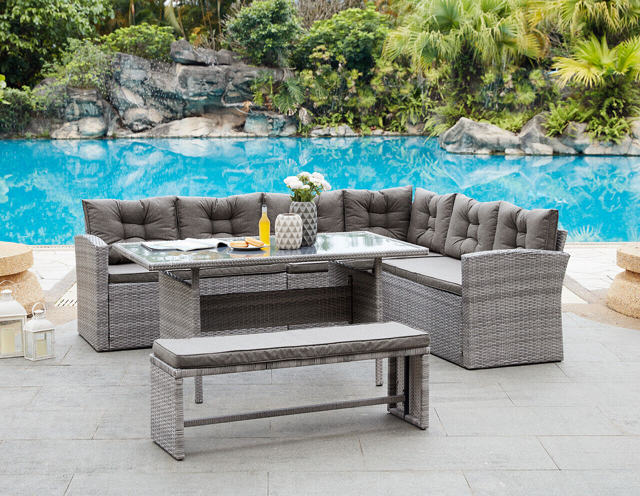 Garden Furniture - Rattan Corner Group Garden Furniture Set Outdoor Dining Sofa Set Table & Bench