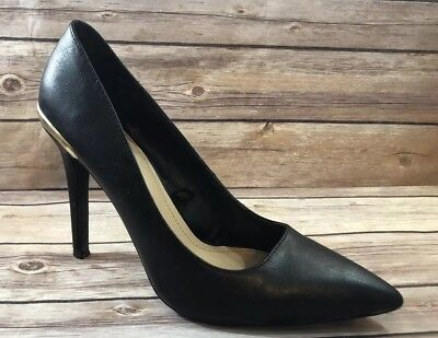 ZARA TRAFALUC Wmn sz 39 Black Pointed Toe Metallic Back Detail Heels Shoes for sale  Shipping to Nigeria
