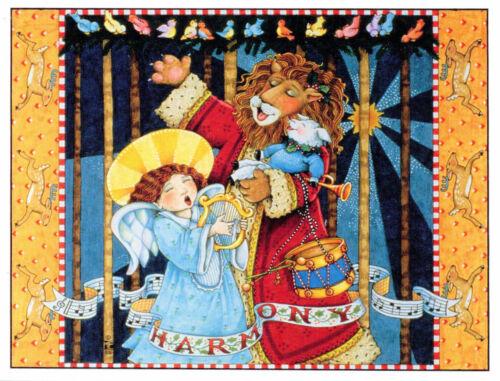 Mary Engelbreit-HARMONY Angel Lion Lamb-Christmas Season Greeting Card-NEW!