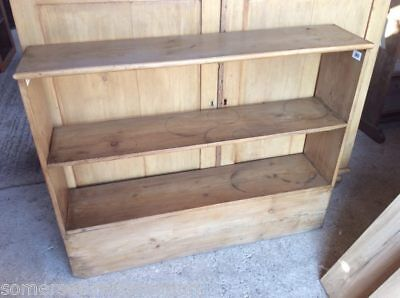 Old Stripped Waxed Pine Two Shelf Floor Standing Bookcase
