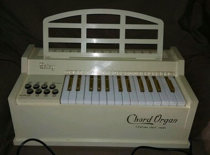 Vintage Estey Electric Chord Organ Works! Gold Keys 1950