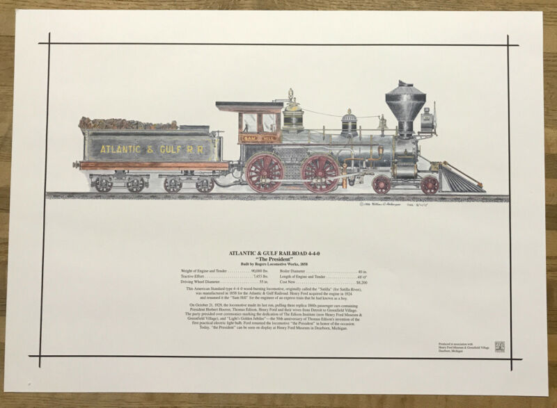 "Art Print Atlantic & Gulf Railroad 4-4-0 ""The President"" | 11x15.5"" | Berkompas"