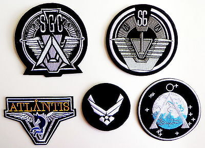 Stargate SG-1 TV Series Patches Full Set of 5 Command Uniform Goth Punk Logo