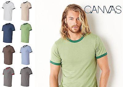 (Bella  Canvas - Heather Ringer Jersey T-Shirt S - 2XL Mens Jersey Tee Bella 3055)