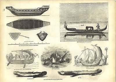 Old Engravings Venetian Gondola Plan Of Roman Galley Anglo-saxon Ship
