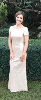 Jadore sequin nude formal gown size 6