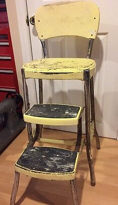 Vintage Stylaire Step Stool Mid Century Kitchen Yellow Metal Folding