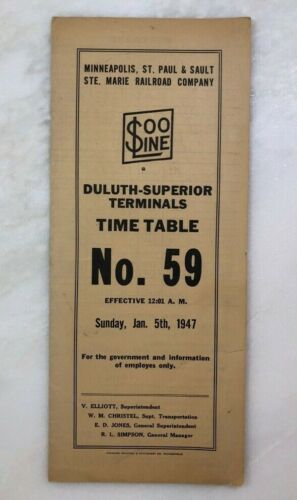 1947 SOO LINE DULUTH SUPERIOR Terminals RAILROAD Train EMPLOYEE TIME TABLE No 59