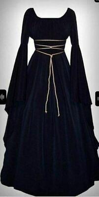 Medieval Dress Women's Vintage Victorian Renaissance Gothic Costume Gown Black #