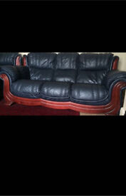 LEATHER SOFA SET AND TABLE