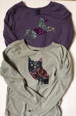 Girls Gap Long Sleeve Purple Sequin Horse Shirt Size XL (12) Owl