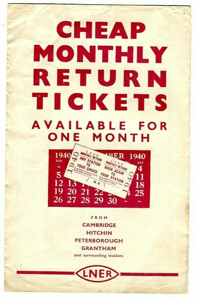 LNER: Cheap Monthly Return Tickets, from Cambridge, Hitchin, etc: 1939/1940