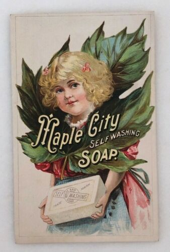 1880s MAPLE CITY SOAP Illinois MONMOUTH Victorian Advertising TRADE CARD Antique