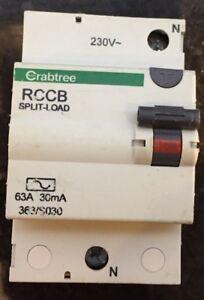 Crabtree RCCB split load 63A 30mA RCD Main Circuit Breaker