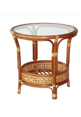 Coffee Pelangi Table with Glass Top Natural Wicker Rattan, Cognac