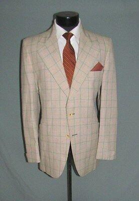 Stunning Vintage Two Button side Vents Flat Front men Plaid suit 40 R USA