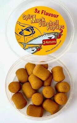 CATFISH PRO SPICY MACK 24mm DUMBELL POP-UPS . NEW !! TRIPLE FLAVOUR
