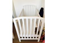 White Solid Wood Cot Bed & Mattress