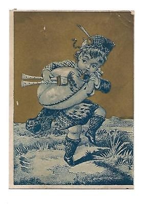 Little Boy Scottish Tartan Bagpipes Dancing No Advertising Vict Card c1880s