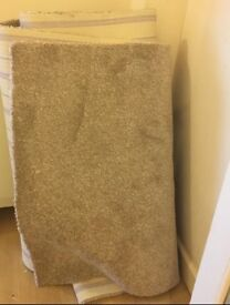 Hessian backed beige stone carpet remnant