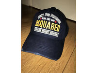 DSquared2 cap navy torn ripped Snap Back designer hat